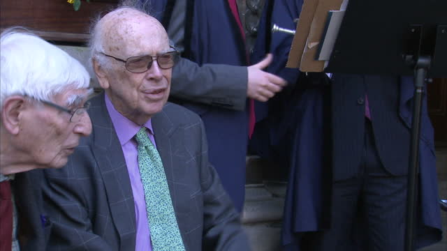 external shots of american molecular biologist james watson attending a memorial ceremony at gonville and caius college for francis crick with whom... - francis crick stock videos & royalty-free footage