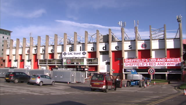 external shots of bramall lane the home stadium of sheffield united fc shot in sheffield in 2014 on 22nd march - stadium stock videos & royalty-free footage