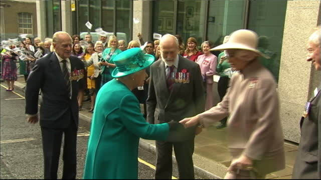external shots of crowds and prince and princess michael of kent greeting the arrival of queen elizabeth and prince philip duke of edinburgh at the... - princess michael of kent stock videos and b-roll footage