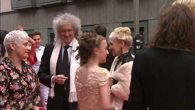 external shots of musician brian may and his wife anita dobson speaking to other guests on the red carpet of the olivier awards at the royal opera... - anita dobson stock videos & royalty-free footage