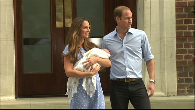 external shots of prince william and catherine, duchess of cambridge making their first public appearance with their newborn son on the step of the... - prince stock videos & royalty-free footage