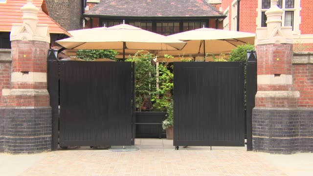 atmosphere external view of the main gate at chiltern firehouse general views on july 21 2014 in london england - メリルボーン点の映像素材/bロール