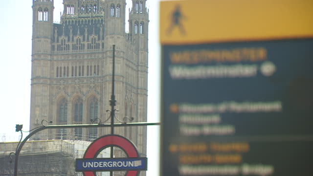 external views of the houses of parliament - road sign stock videos & royalty-free footage