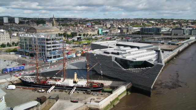 external views of the new v&a museum in dundee - dundee scotland stock videos & royalty-free footage