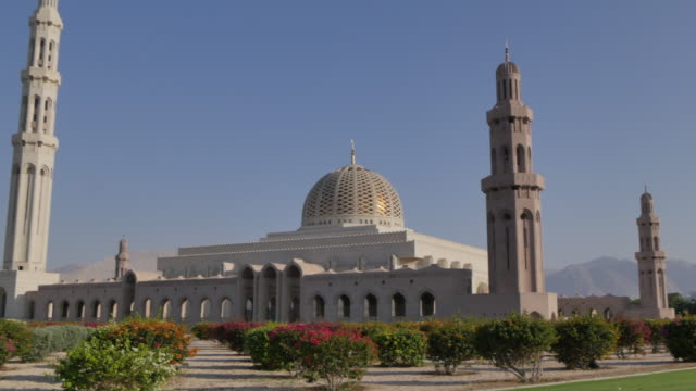 external views of the sultan taboos grand mosque, muscat, oman, middle east, asia - grand mosque stock videos and b-roll footage