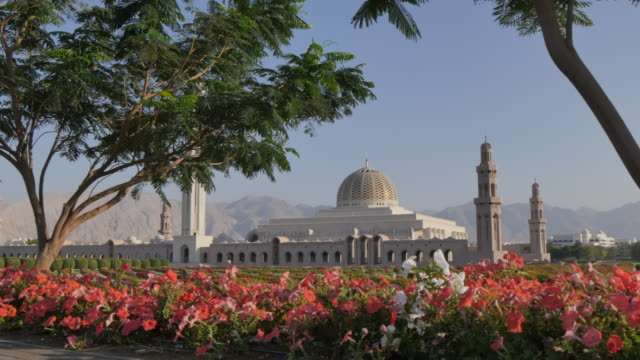 external views of the sultan taboos grand mosque, muscat, oman, middle east, asia - sultan stock videos and b-roll footage