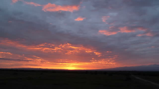 external wide shot of sunrise with bright warm orange yellow and pink sky land silhouette skyline vast rippled blue grey white clouds in laikipia... - cloud sky stock videos & royalty-free footage