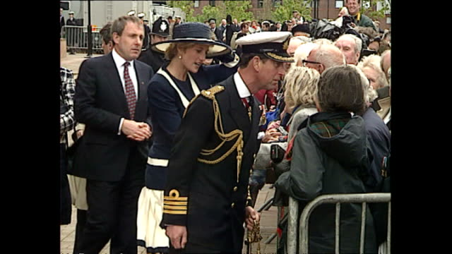 exteror shots of princess diana princess of wales and prince charles prince of wales speaking to members of the public after the battle of the... - liverpool england stock-videos und b-roll-filmmaterial