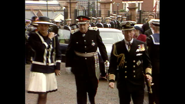 Exteror shots of Princess Diana Princess of Wales and Prince Charles Prince of Wales arriving for the Battle of the Atlantic commemoration service on...