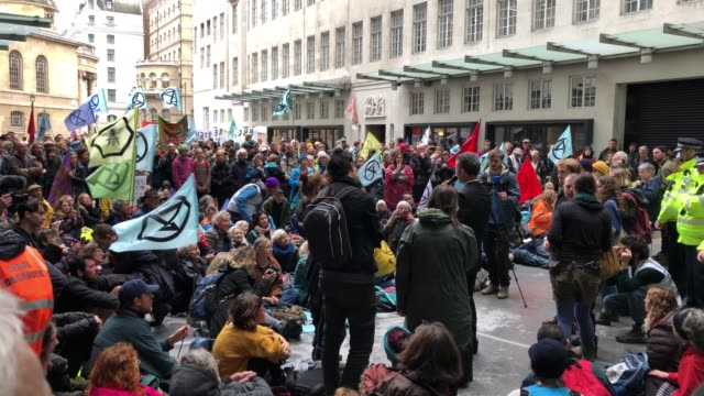 extinction rebellion activists protest outside the bbc headquarters in london on october 11 - bbc stock videos & royalty-free footage