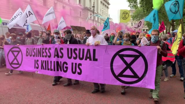 extinction rebellion activists were arrested by london police on september 03, 2020 during rallies urging the government to act against climate... - climate stock videos & royalty-free footage