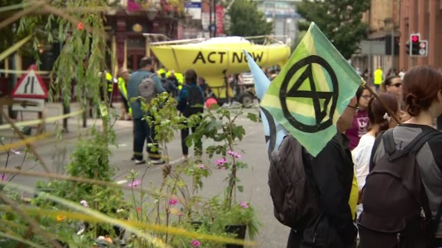 extinction rebellion block one of uk's most polluted streets in manchester england greater manchester manchester ext extinction rebellion protesters... - sticker stock videos and b-roll footage