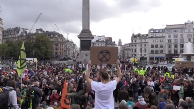 extinction rebellion called on supporters to gather in trafalgar square on wednesday afternoon to defy their ban to protest, which police warned will... - rebellion stock videos & royalty-free footage