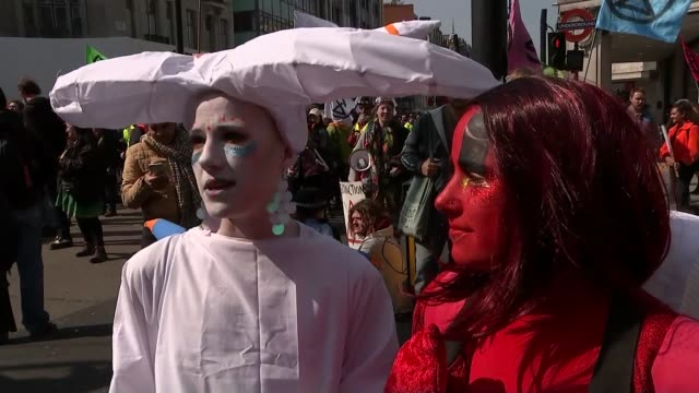 Extinction Rebellion climate change protesters block roads in London ENGLAND London Oxford Circus EXT Extinction Rebellion climate change protesters...