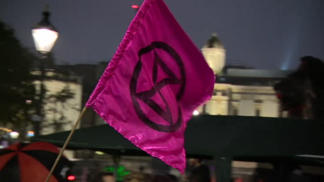 extinction rebellion flag at trafalgar square during climate change protests in london - climate stock videos & royalty-free footage