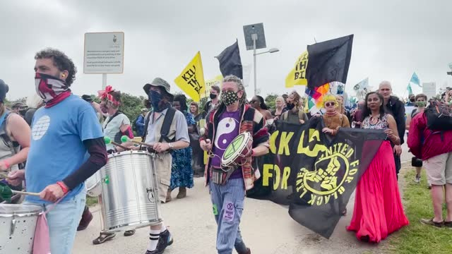 extinction rebellion has begun its protest against the g7 on the first day of the summit. people gathered at st ives leisure centre where members of... - g force stock videos & royalty-free footage