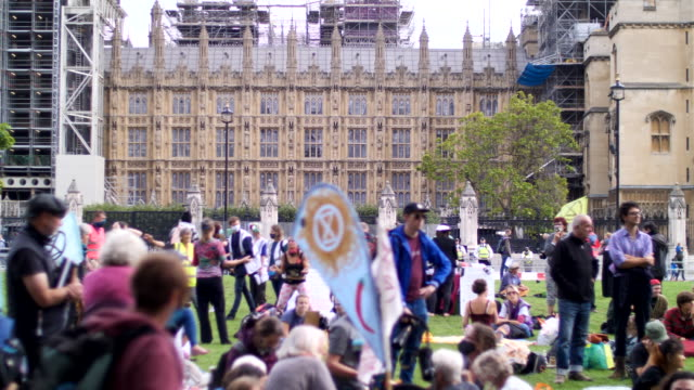 extinction rebellion protest london 2020 out side parliament with speakers and crowd - 2020 stock videos & royalty-free footage
