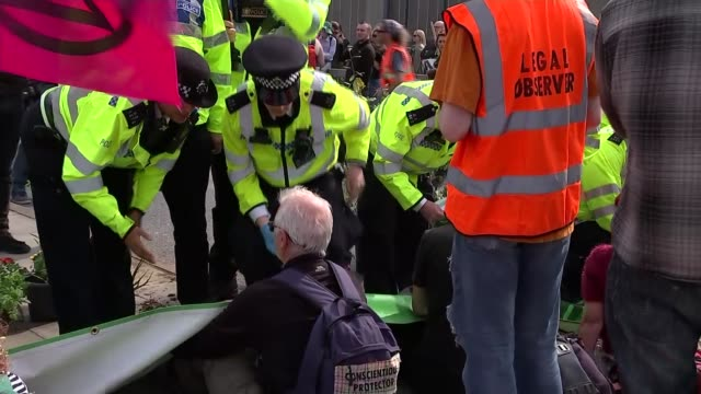 arrests made at waterloo bridge and oxford circus sites england london lambeth waterloo bridge ext various of extinction rebellion environmental... - lambeth stock videos & royalty-free footage