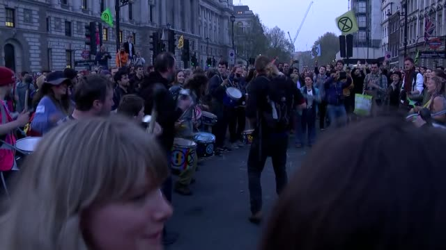parliament square gvs england london westminster parliament square man with drum in middle of circle in middle of road leading dance / chant / drum... - circle stock videos & royalty-free footage
