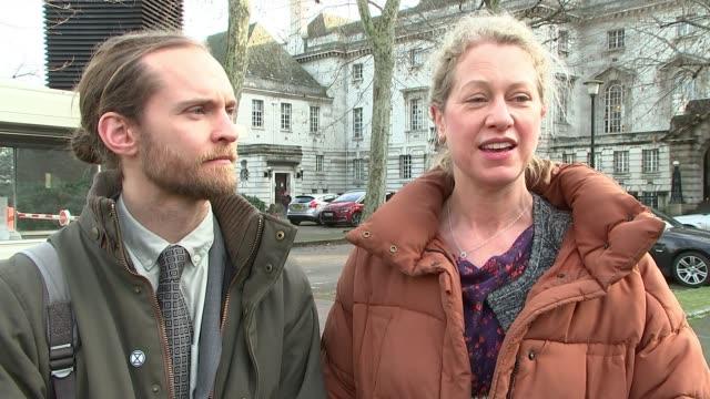 three protesters avoid jail england london ext cathy eastburn interview sot - gefängnisausbruch stock-videos und b-roll-filmmaterial