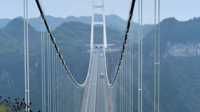 extra large suspension bridge in china's western hunan - suspension bridge stock videos & royalty-free footage
