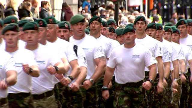extra security ahead of remembrance day service england city of london ext royal marines marching in lord mayor's show spectators cheering as marines... - lord mayor of london city of london stock videos & royalty-free footage