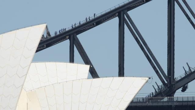 Extra wide shot of people climbing up the Sydney Harbour Bridge on November 03 2016 in Sydney Australia
