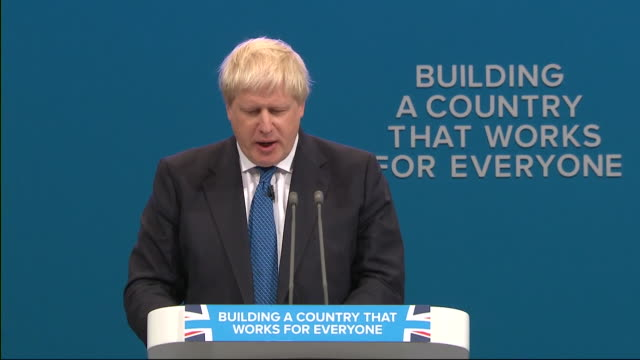 extract boris johnson's speech at the tory conference where he calls for the british lion to roar again - boris johnson stock videos and b-roll footage