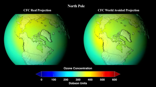 extrapolated simulation 1974 to 2065 of what would have happened to global concentrations of stratospheric ozone if chlorofluorocarbons (cfcs) and similar ozone-depleting chemicals were not banned through the montreal protocol - ozone layer stock videos & royalty-free footage