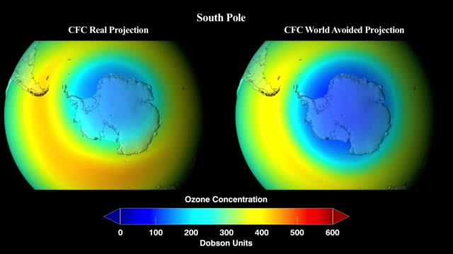 vídeos de stock, filmes e b-roll de extrapolated simulation 1974 to 2065 of what would have happened to global concentrations of stratospheric ozone if chlorofluorocarbons (cfcs) and similar ozone-depleting chemicals were not banned through the montreal protocol - camada de ozônio