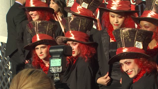 extras at the opening night of fidm exhibit for walt disney studios 'alice in wonderland' at los angeles ca - alice in wonderland stock videos and b-roll footage