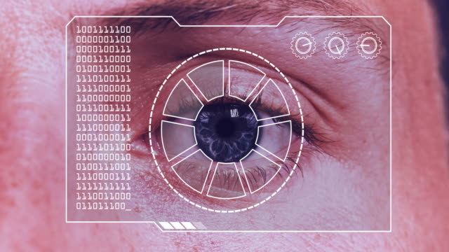 Extreme close up animated sequence of a hud device scanning a man's eye.