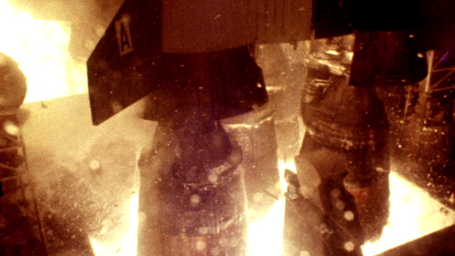 extreme close up apollo 11 rocket boosters lifting off from launch pad - 1969 stock videos & royalty-free footage