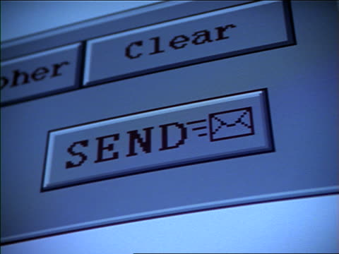 "extreme close up arrow clicking on bar titled ""send"" on computer screen - e mail stock-videos und b-roll-filmmaterial"