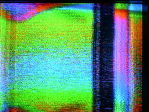 extreme close up blue static on television screen with various images in static - lockdown stock-videos und b-roll-filmmaterial