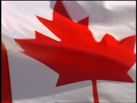 extreme close up pan canadian flag blowing in wind - canadian flag stock videos & royalty-free footage
