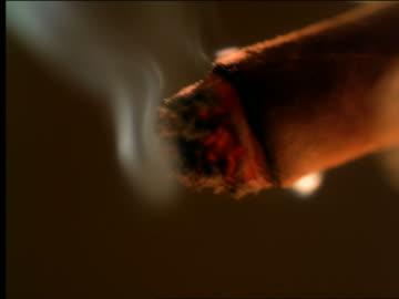 vídeos de stock, filmes e b-roll de extreme close up cigar burning with smoke around tip - charuto