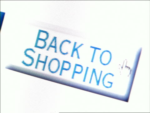 "vídeos de stock e filmes b-roll de canted extreme close up computer display of pointer moving over ""back to shopping"" box - online shopping"
