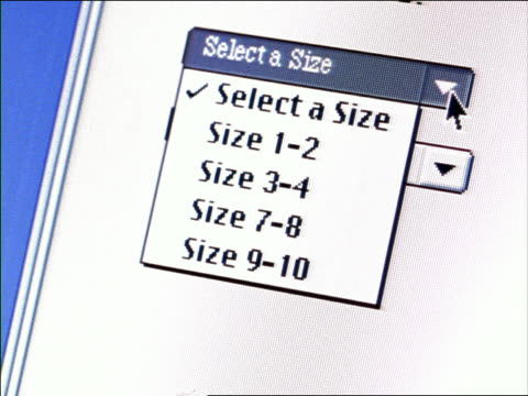 """CANTED extreme close up computer display of pointer moving over """"Select a Size"""" + """"Select a Color"""" boxes"""