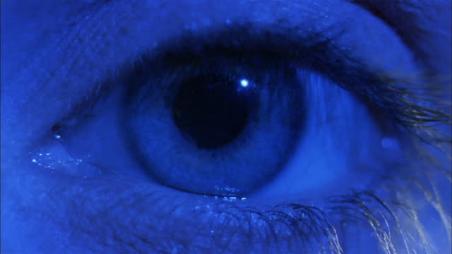 extreme close up eye with dilated pupil / red light shining on eye and pupil contracting - human eye stock videos & royalty-free footage