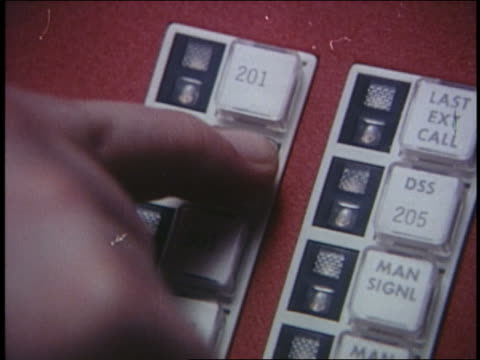 1970 extreme close up fingers pushing telephone buttons