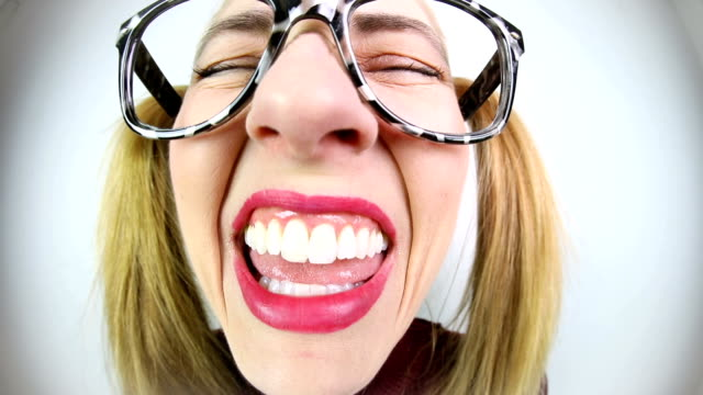 extreme close up funny face laughing - ugliness stock videos & royalty-free footage
