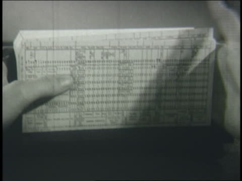 b/w 1950 extreme close up hand with punch cards - punch card reader stock videos & royalty-free footage