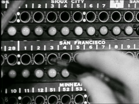 b/w 1946 extreme close up hands of telephone operator plugging in wires to san francisco at switchboard / ind. - 電話交換機点の映像素材/bロール