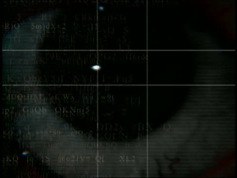 cgi extreme close up human eye with grids + graphics animated over it - digital animation stock videos & royalty-free footage