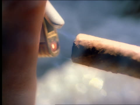 extreme close up lighting cigar by butane lighter - sigaro video stock e b–roll