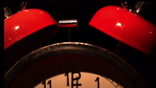 extreme close up, locked down - a bell alarm clock sounds its alarm / usa - mallet hand tool stock videos and b-roll footage