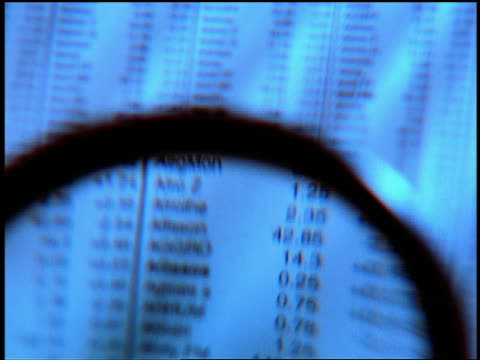 stockvideo's en b-roll-footage met blue extreme close up magnifying glass scrolling over stock quotes - financiële pagina