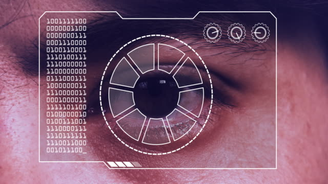 extreme close up of a man's eye, with a hud scanning graphic overlay. - suspicion stock videos & royalty-free footage