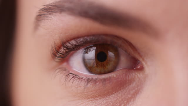 extreme close up of caucasian millennial's eye on green screen - brown stock videos & royalty-free footage